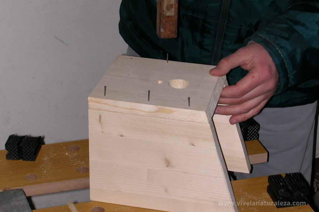 Clavando las piezas de la caja nido