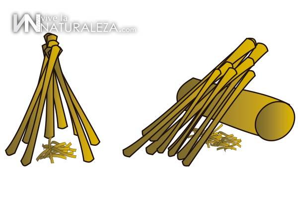 como hacer una fogata con palos