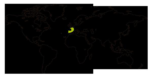 Mapa de distribucion mundial del triton jaspeado (Triturus marmoratus)