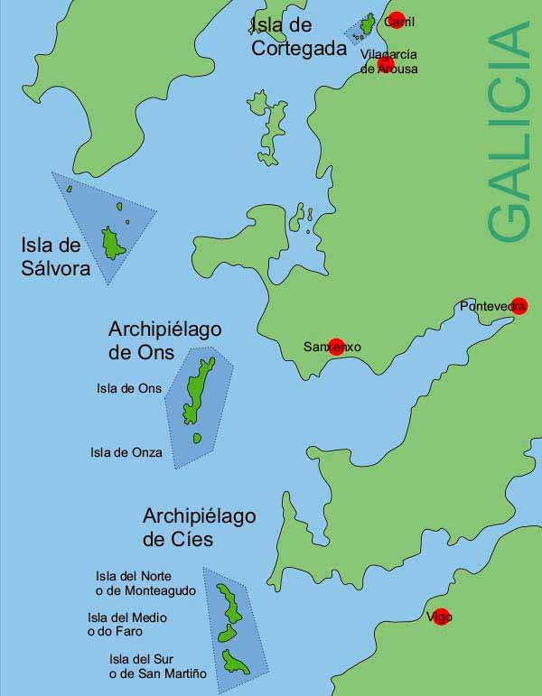 Mapa del Parque Nacional de las Islas Atlanticas de Galicia