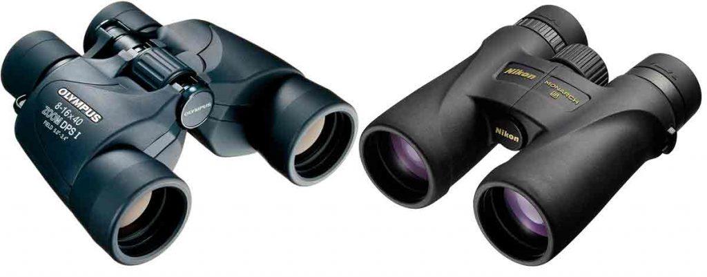 Ejemplos de prismáticos con prisma de tipo porro y en tejado