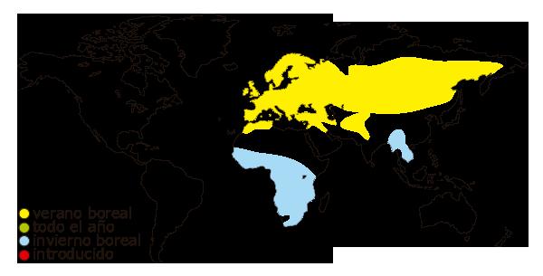 Mapa de distribucion mundial del avion comun (delichon urbicum)