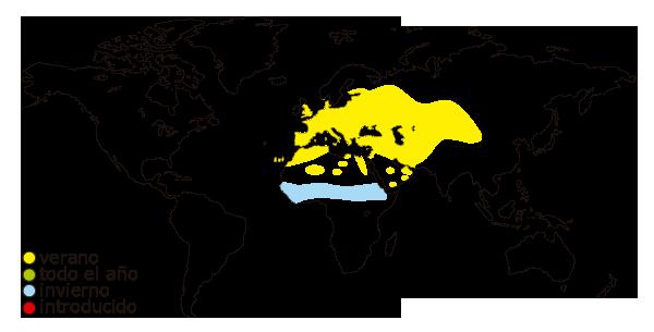 Mapa de distribucion mundial de la tortola comun o tortola europea (Streptopelia decaocto)