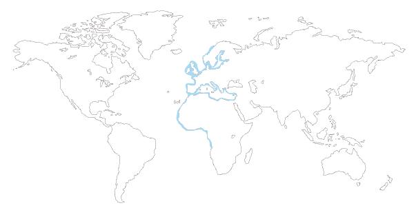 Mapa de distribución mundial del longueiron o navaja rugosa (Solen marginatus)